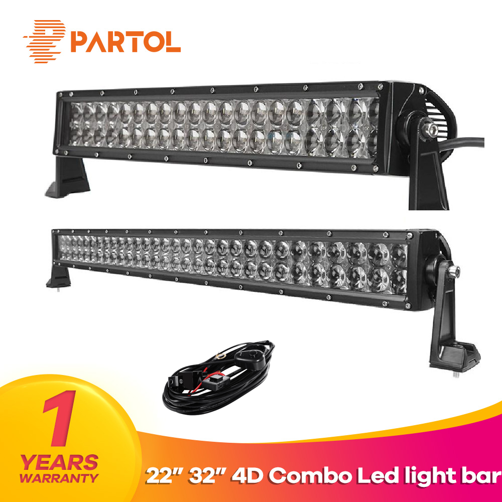 цена на Partol 4D 22 32 Straight LED Light Bar Offroad Led Work Light Driving Lamp Flood spot Combo Beam ATV SUV Boat 4x4 4WD 12V 24V