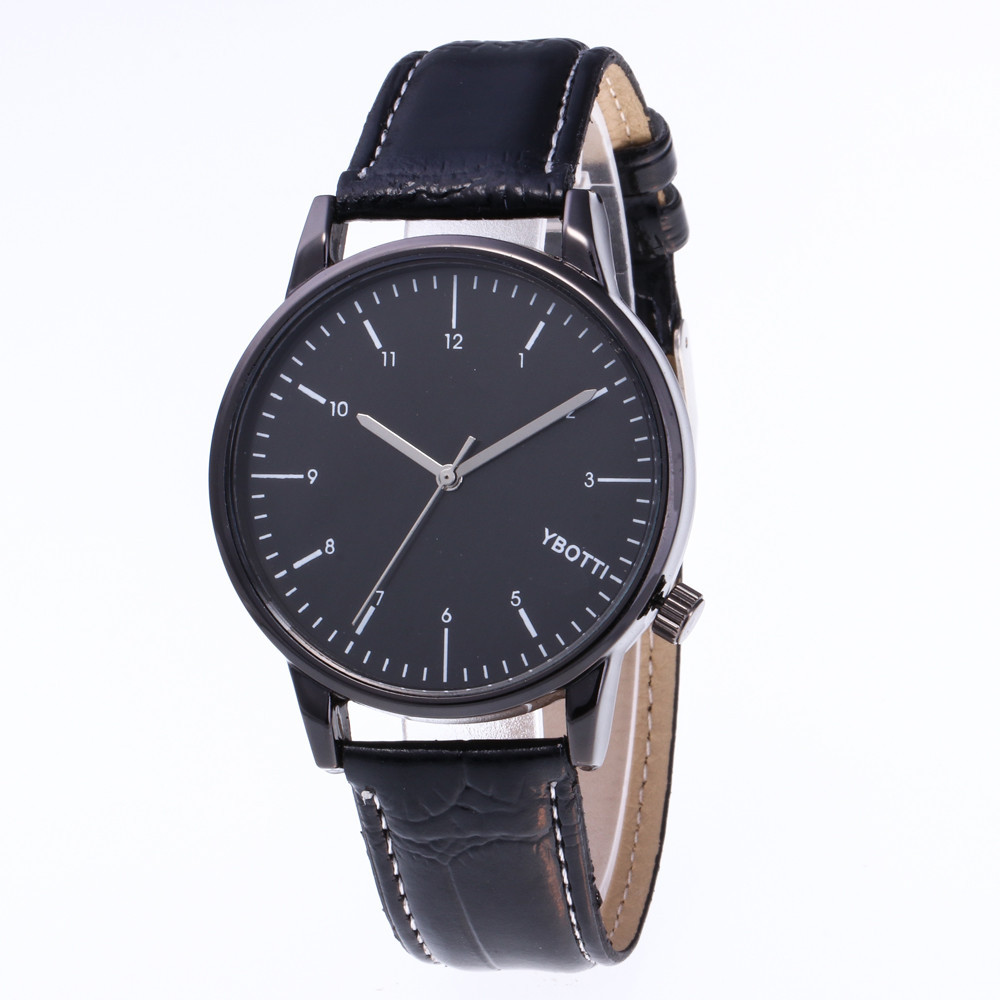 2018 Couple Fashion Business Watches Men Leather Band Analog Quartz Round Wrist Business Mens watch Relogio Masculino Saat Gift