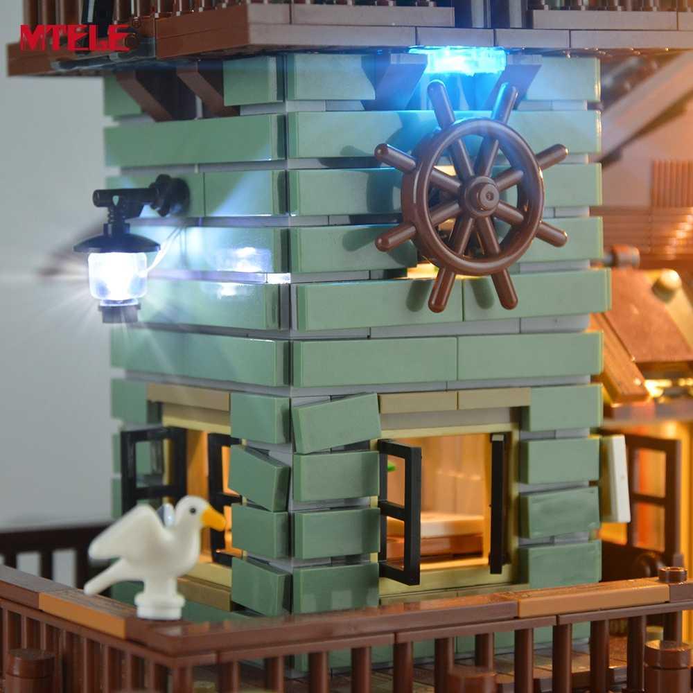 Zestaw oświetlenia led MTELE dla starego sklepu wędkarskiego klocki do budowy zestaw oświetleniowy kompatybilny z modelem 21310 dla dzieci prezent na boże narodzenie