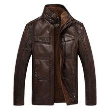 Men jacket Coat Brand leather jacket men thick velvet PU jaqueta couro winter Overcoat jackets large size XXXL 4XL homme parka