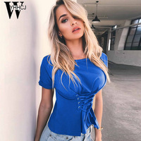 WYHHCJ 2017 New Casual O NECK Solid T Shirt Women Tops Fashion Lace Up Short Sleeve