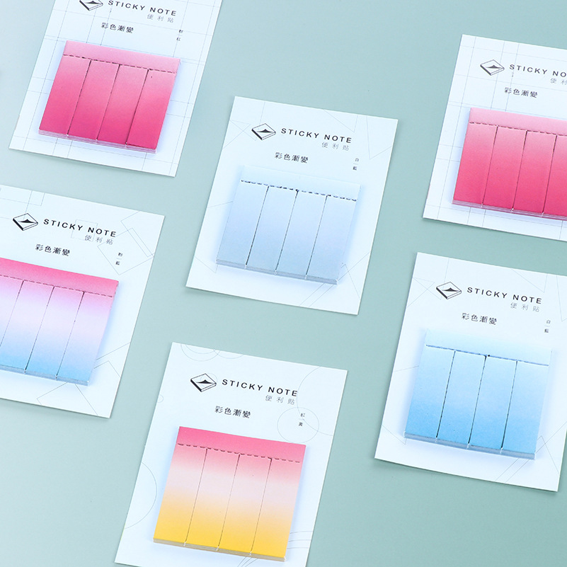 33Pcs/Pack Gradient Color Colorful Sticky Note Post It N Times Memo Pad Notebook Student Sticky School Label Gift E0076