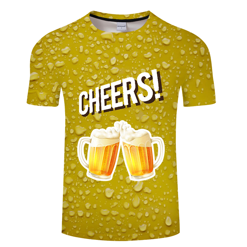 Beer printed t shirt casual fashion men's and women's t shirt, 3d printed happy cheers, fun new T-shirt short sleeve shirt