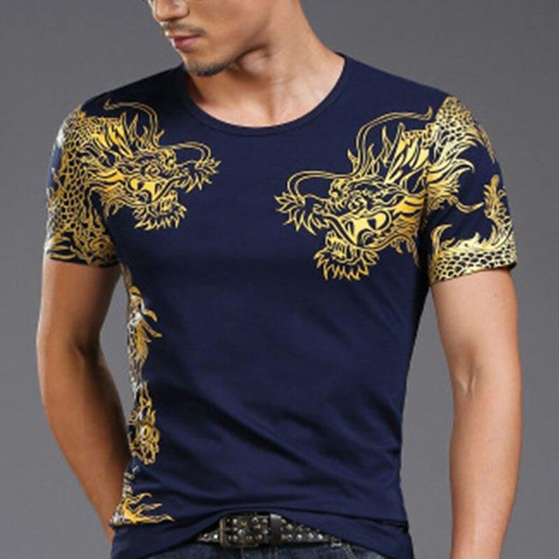 Chinese Style Summer Men's T-shirt Round Neck Dragon Print Short-sleeved Slim Lycra Cotton High Elastic Casual Sports 4XL Shirt