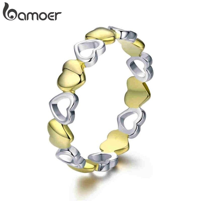 BAMOER alta calidad 925 Plata de Ley 100% apilable oro corazón grabado dedo anillos para mujeres joyería de plata de ley SCR317
