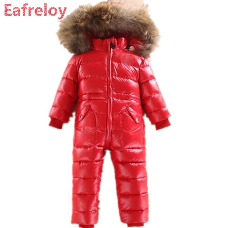 New 2017 Russia winter Boys Clothing Waterproof Down Warm Jacket For Girls Kids 7 Color Thick Jumpsuit Coats White Duck Down russia winter boys parka warm thick duck down jacket big casual thick fur collar hooded jackets coats children down