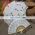 Royal Vintage Battenberg White Heidi Lace Parasol & Fan Set Handmade for Wedding,Free Shipping
