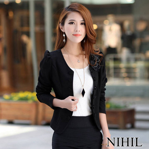 01c47ce29 Long Sleeve Suits for ladies Work Wear Black White Double Breasted Blazer  Women blazers and jackets blaser feminino Tops 859-in Blazers from Women s  ...