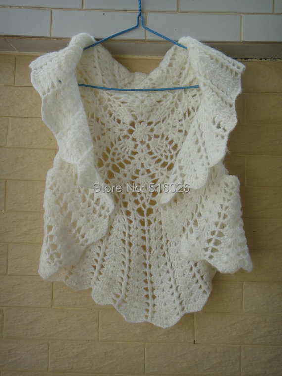 White Ruffle Bolero Jacket Crochet Bridal Shrug Wedding Wrap In