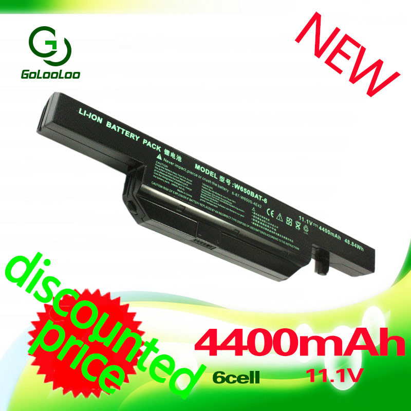 Golooloo 11.1V 4400mAh laptop battery for Clevo W650BAT-6 K590C-I3 K610C-I5 G150SG K650D K750D G150TC G150MG K4 K5 P4-I54572d1 origianl clevo 6 87 n350s 4d7 6 87 n350s 4d8 n350bat 6 n350bat 9 laptop battery