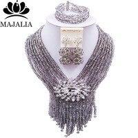 Majalia Luxury African Jewelery Set Silver Gray Crystal Bead Bride Jewelry Nigerian Wedding Jewelery Sets 8CS021
