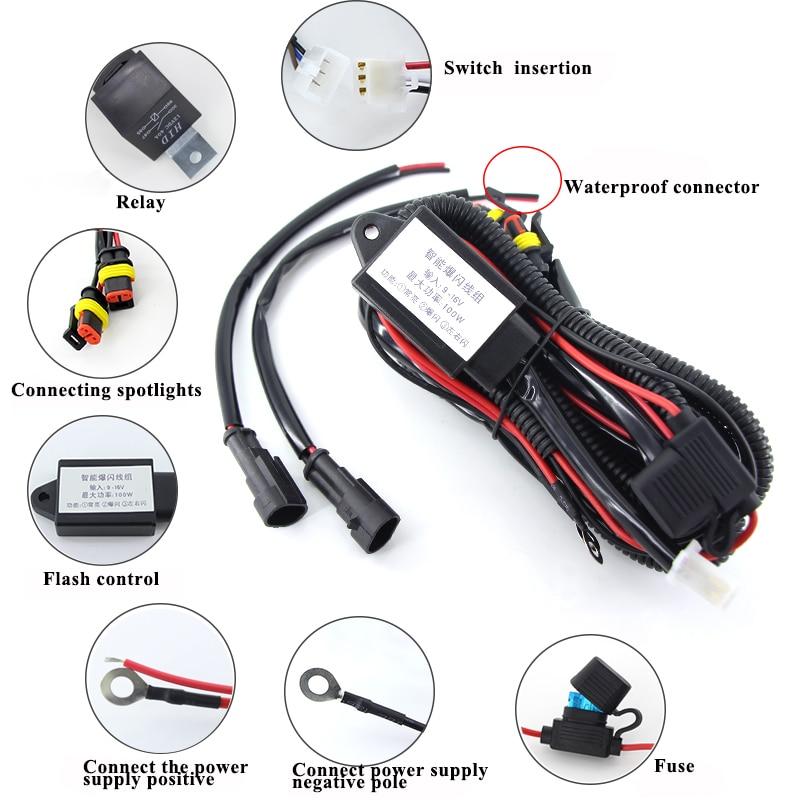 Complet Spot Light /& Fog Light moto Motorcycle wiring loom Harness Kit