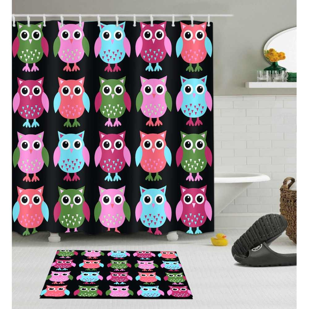 Funny Cute Birds Shower Curtain With