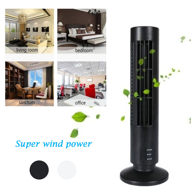 Air Conditioner Purifier USB Tower Fan Bladeless Desk Fan Air Cooling USB Charging Creative Portable Tower Black White