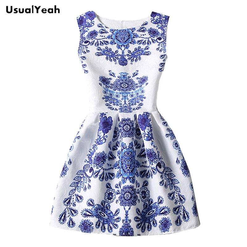 Vestido Azul Y Blanco Porcelana Verano Moda Mujer Vestidos