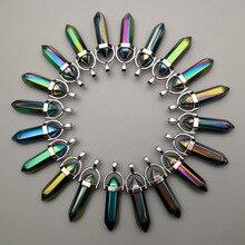 Di modo 24 pz/lotto fascino Arcobaleno Colourful di vetro Pendenti con gemme e perle per Monili che fanno Esagonale pilastro di Guarigione Reiki Chakra allingrosso
