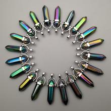 Moda 24 sztuk/partia charm Rainbow kolorowe szklane wisiorki do tworzenia biżuterii sześciokątne filar Healing Reiki Chakra hurtownie
