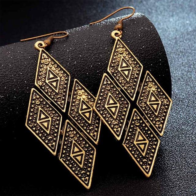 SHUANGR Fashion Hot Gold-color Metal Tassel Dangle Earrings Oversize Pendientes Long Earrings For Women Ethnic Indian Jewelry 5