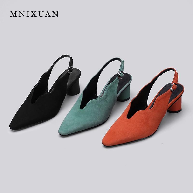 MNIXUAN Retro rome women shoes gladiator sandals high heels 2019 summer new sheep suede square toe block heel 5cm plus size34 43