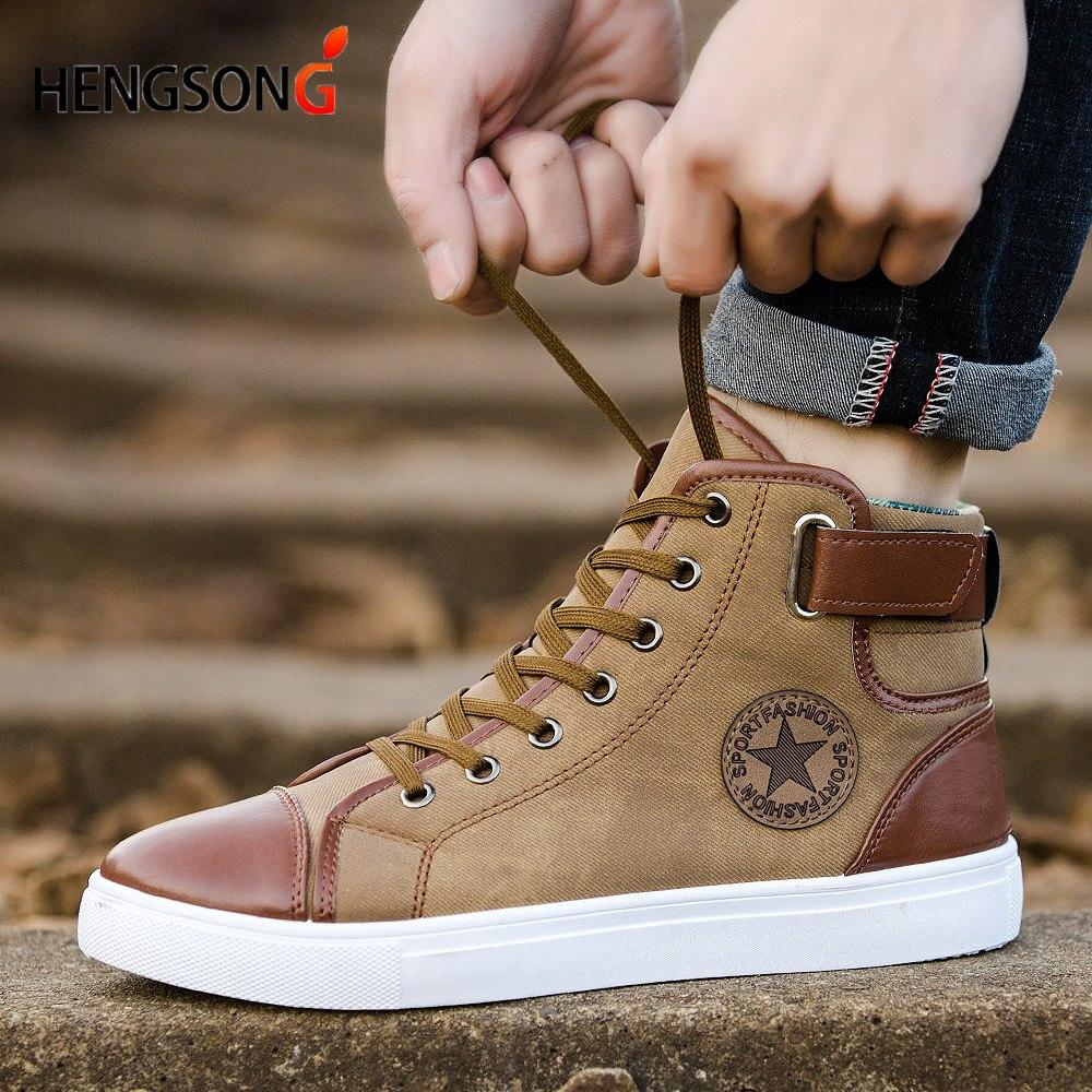 Мужские кеды Кружево-Up Для мужчин повседневная обувь модные высокие Для мужчин высокая труба Ретро удобные Для мужчин плоской подошве Обувь TR642863