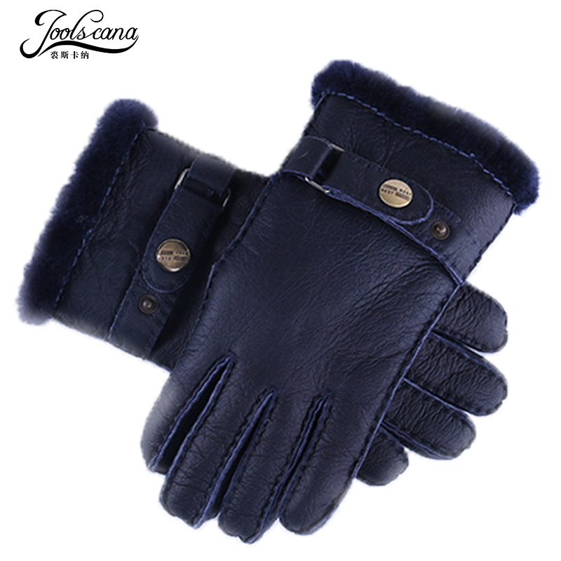 Joolscana Fur Gloves Men Leather Gloves Winter Gloves Very Thick Sheep Fur Mitten Resist Cold New Brand  Driving Tactical Mitten