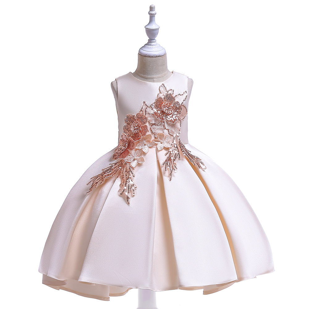 Champagne Flower Girl Dresses for Wedding Satin First Communion Dresses 2019 Prom Evening Party Kids Dresses