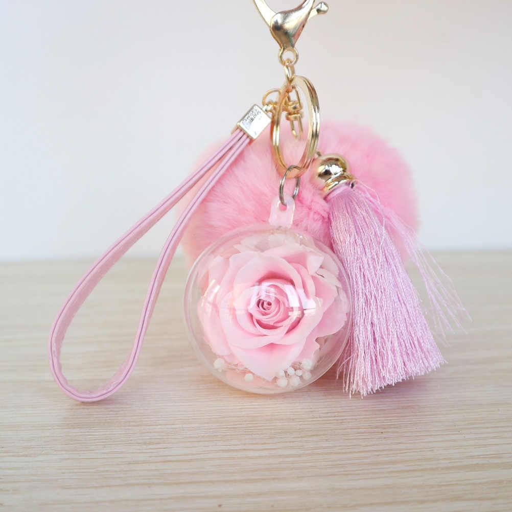 Новинка, сохраненная Роза сумочка с брелоком и подвеска для дамской сумочки, Шарм с кисточками и помпоном из кроличьего меха, подарок на любой случай