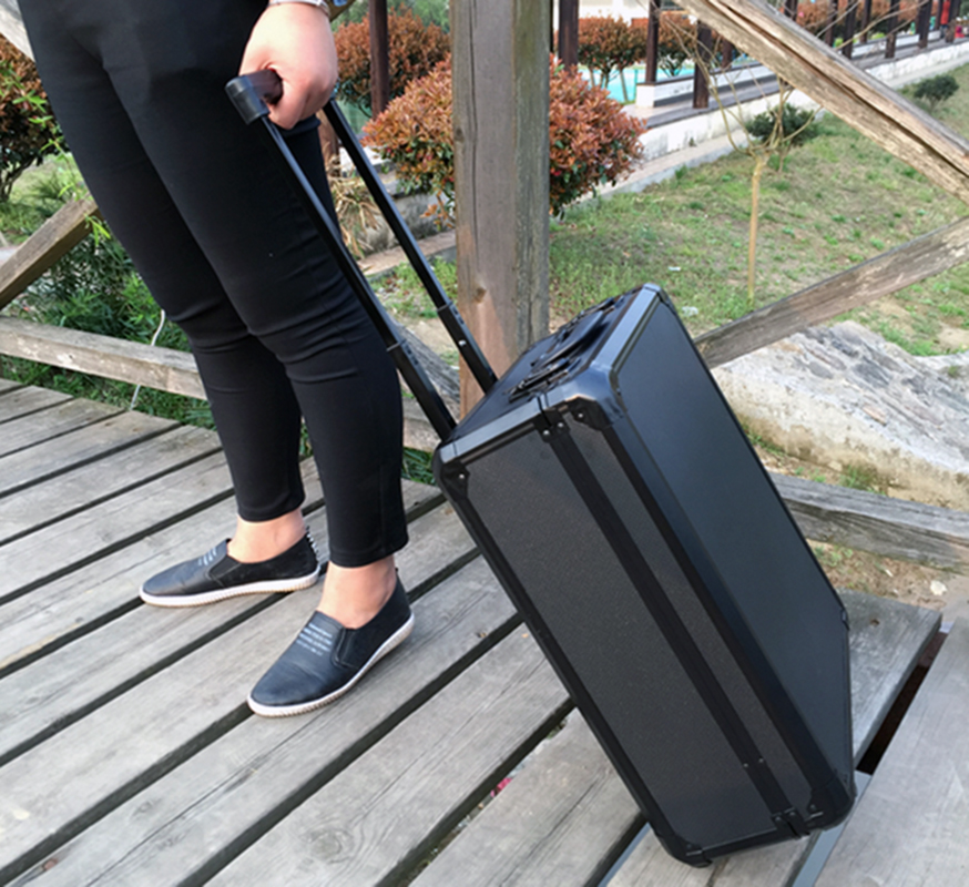 365*465*180mm Aluminum Trolley Case Toolbox Tool Case Protective Camera Case Equipment Box With Pre-cut Foam Lining