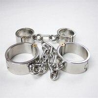 2pcs/set stainless steel handcuffs for sex+leg irons bdsm bondage kit restraints shackles bdsm fetish sex products for couples