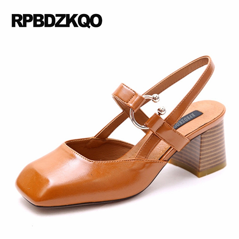 Retro Shoes Strap Classic Ladies Size 4 34 Small Square Toe Block Heels Slingback Pumps 2017 Sandals High Brown Chunky Summer round toe beige strap ladies metal high heels medium chunky modern block slingback size 4 34 sandals shoes 2017 summer pumps new