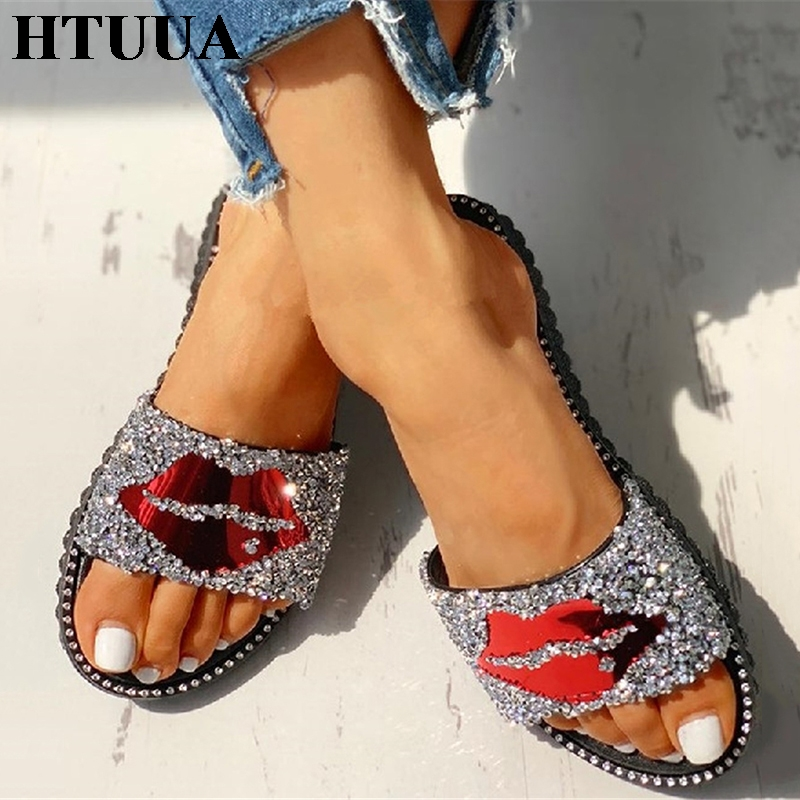 HTUUA Women Slippers Beach-Shoes Sequined Flat-Slides Female Casual Summer Ladies Home
