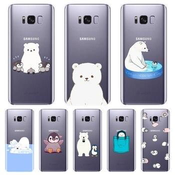 TPU etui na telefony do Samsung Galaxy Note 4 5 8 9 silikonowe miękkie niedźwiedź pingwin tylna pokrywa dla Samsung Galaxy S8 S9 Plus S5 S6 S7 krawędzi