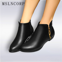 Big size 34-45 woman martin boots Zipper New autumn winter Fashion Heels handmade ankle short Boots Casual Shoes