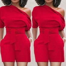 Summer Womens Bodycon One Sholder Jumpsuit Shorts Beach Holiday Playsuit