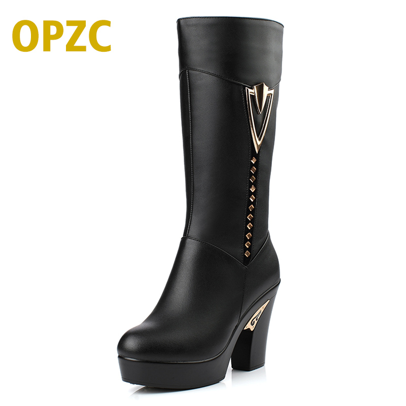 2017 new winter women boots first layer of leather high-heeled genuine leather boots Gaotong thick with long-barreled boots wool 2017 new women s genuine leather boots motorcycle boots rough with in tube high heeled boots thick wool really pima ding