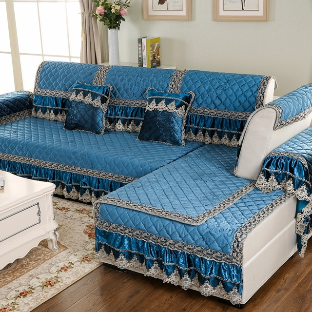 Lace Emboridered Sectional Sofa Decorative Cover Pad Mat Solid