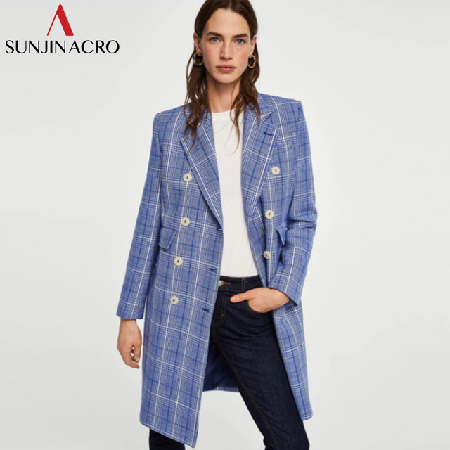 SUNJINACRO Office Lady Streetwear Double Breasted Blazers Pocket Plaid Minimalist Coat 2018 Autumn New Women Elegant Outerwear