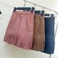New autumn and winter 2016 stylish high waist Rivet tassel bust skirt package hip skirt women skirts faldas saia Solid A-Line