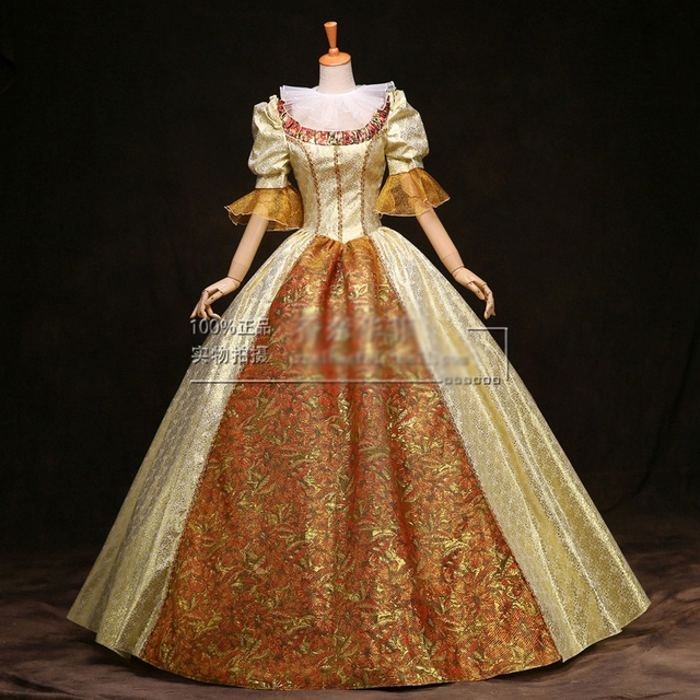 100% real venice carnival long medieval dress Renaissance ball Gown ...