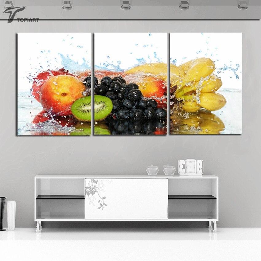 ̿̿̿(•̪ )Pared 3 unidades pinturas variedad de frutas impresiones de ...