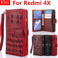 3D Bump Alligator Crocodile Skin Leather Stand Card Holder Wallet Case For Xiomi Xiaomi Redmi 4X
