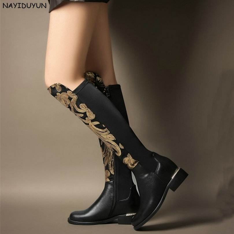 NAYIDUYUN     New Women Black Cow Leather Elastic Knee High Boots Metal Decoration Round Toe Hidden Wedge High Heel Pumps Shoes nayiduyun new fashion thigh high boots women genuine leather round toe knee high boots high heel party pumps casual shoes