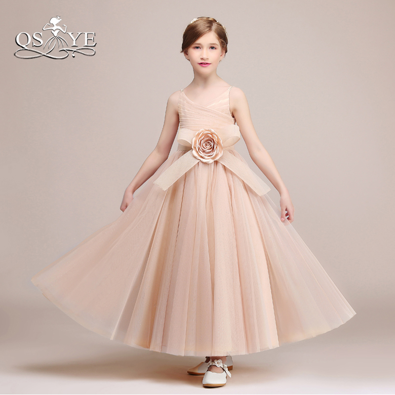 2018 Blush Pink Long Flower Girl Dresses First Communion Dress Pleat
