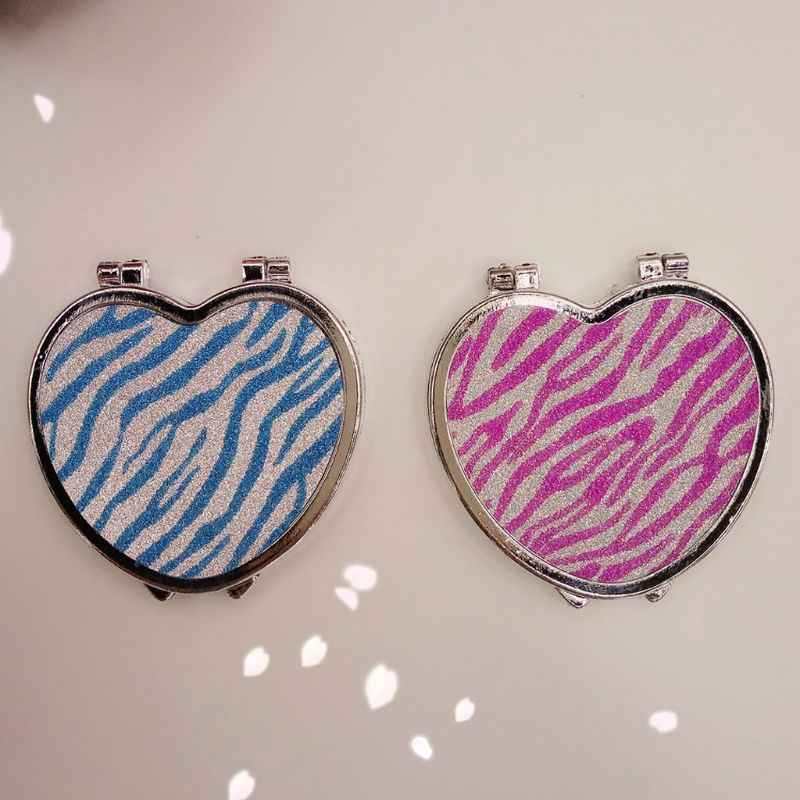 Dua Sisi Berbentuk Hati Mini Saku Cermin Zebra-Stripe Lipat Alat Make Up