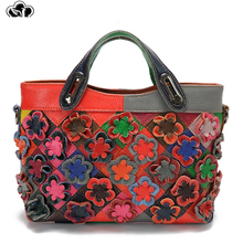 Famous Brand Genuine Leather Women Handbags Fashion Flower Shoulder Bag Luxury Crossbody Bags for Women Large Capacity Tote Bag цена