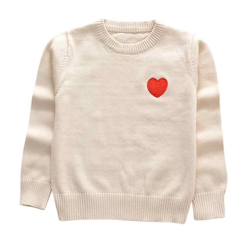 Baby Kids autumn Spring Sweaters Children clothes heart print Princess pullover tops toddler Girls knitted Sweater 6 Colors