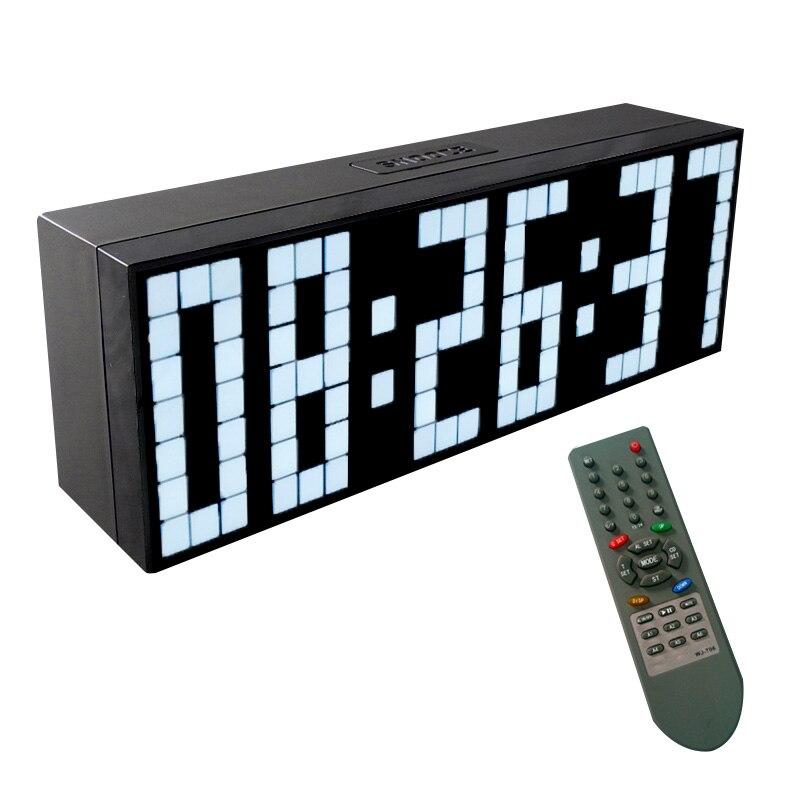 KOSDA télécommande grande alarme numérique LED horloge compte à rebours grand écran chronomètre sportif Snooze température décor à la maison-in Alarme Horloges from Maison & Animalerie    1