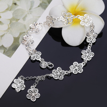 new arrive Beautiful bracelet noble flower chain fashion Wedding Party Silver cute lady nice women bracelet jewelry LH013 1