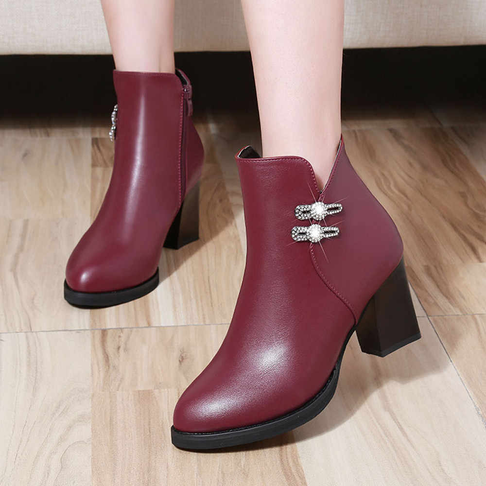 YOUYEDIAN Women Leather Boots High Heel Rhinestone Zipper Boots Casual Shoes Martin Boots bota feminina salto alto para ro#a3
