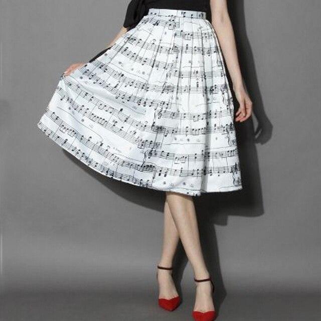 7d234e4bb6 Women Satin Midi Skirt Autumn Summer Style Fashion Ladies Piano Music Notes  Melody Printed Pleated Tutu Skirts Female Skirt Saia